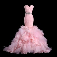 New Arrival Trumpet Blush Wedding Dresss Light Pink White Red Mermaid Organza Bride Dress Court Train Red Bridal Gown 2019