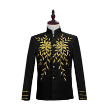 Mens Stage Embroidered European Court Dresses Chinese Style Blazers White Suits Red Black Blazer