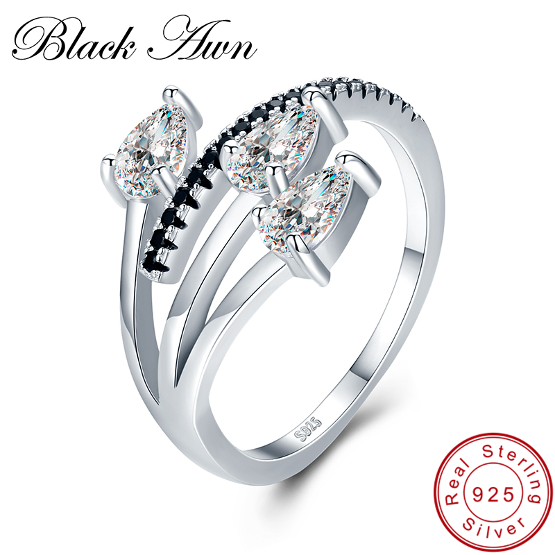 [BLACK AWN] Real 925 Sterling Silver Jewelry Trendy Elegant Engagement Ring Black Spinel Wedding Rings For Women G007