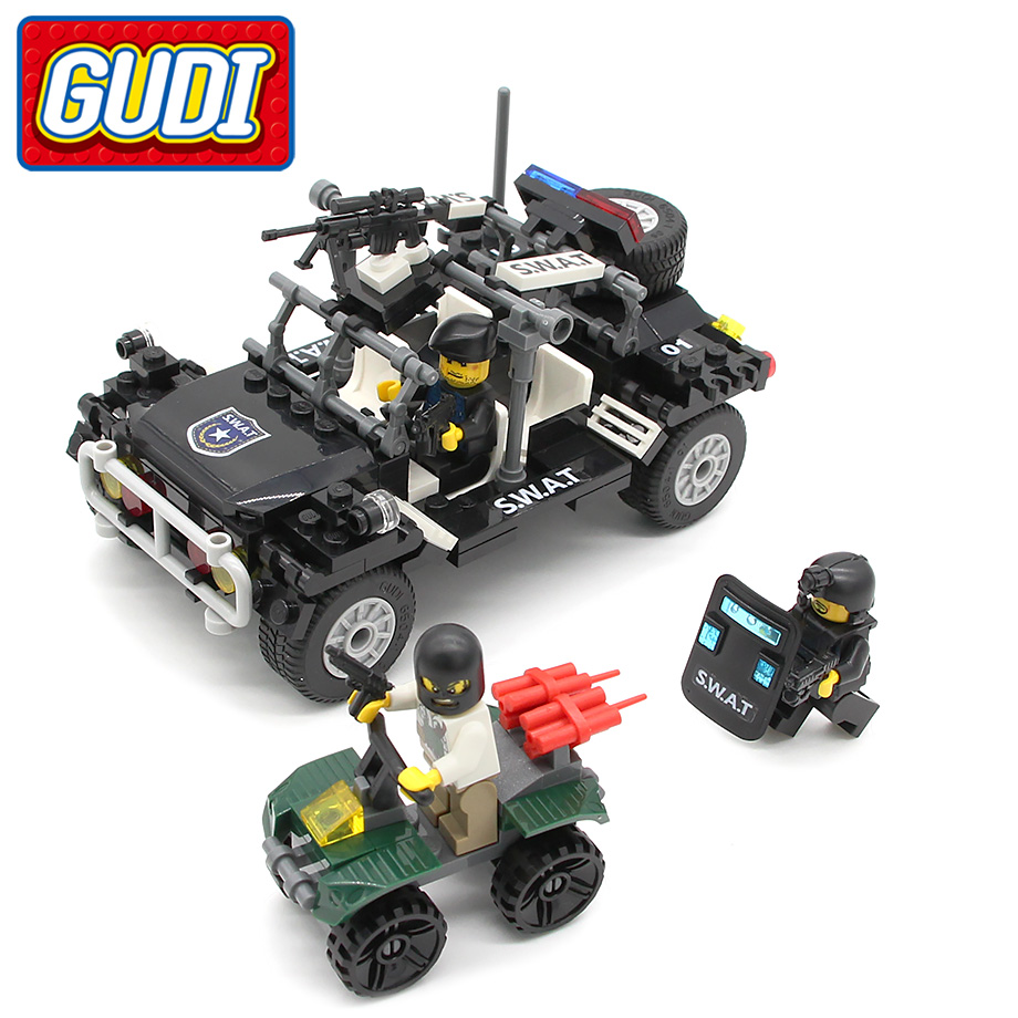 GUDI SWAT Polis Assault Vehicle 246pc Brick Building Blocks Satser Modeller Leksaker för barn kompatibla med Legoingly