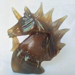 Image 3 - טבעי אבן אגת אשכול גילוף unicorn קריסטל גולגולת creative גילוף עיצוב הבית אצילי וטהור