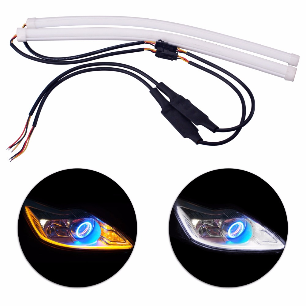 2Pcs 30CM Daytime Running Light Tube Guide Soft and Flexible Car-styling LED Strip DRL White and Yellow turn signal light flexible 3w 132lm 6 smd 5050 led white car decorative daytime running light 12v 2 pcs