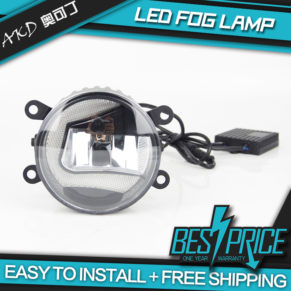 AKD Car LED Fog Lamp for Toyota Innova Verso Auris Light Shape C LED DRL light bar Energy saving Cob Low Beam Daytime Assembly