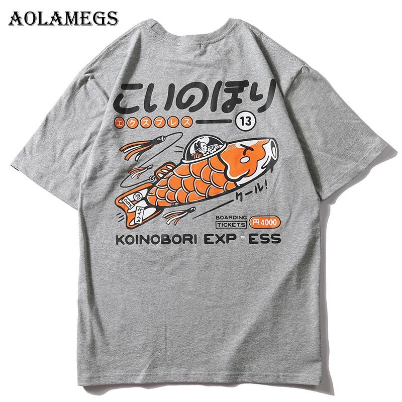 Aolamegs Men T Shirt Japanese Print Men's Tee Shirts Couple O-neck T Shirt Fashion Hip Hop High Street Tees Streetwear Clothing