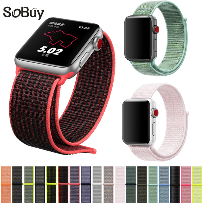 купить Nylon Sport loop strap for apple watch band 4 44mm 40mm correa aple watch 42mm 38mm bracelet wrist bands iwatch series 4/3/2/1 по цене 307.75 рублей