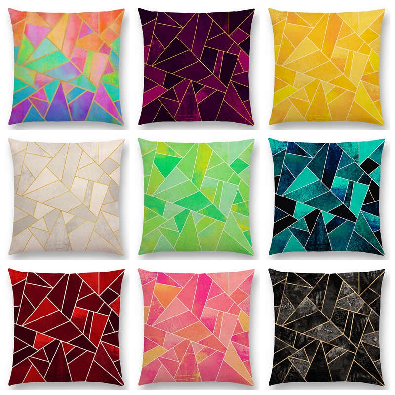 Surprising Us 3 34 33 Off White Purple Black Blue Pink Colorful Abstract Geometric Triangles Gold Lines Rainbow Stones Cushion Cover Sofa Pillow Case In Dailytribune Chair Design For Home Dailytribuneorg