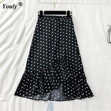 1fac6cd71a Women sweet ruffles plaid split skirts elastic waist buttons ladies casual  mid-calf skirts Vintage