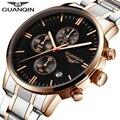 Nueva moda para hombre relojes de primeras marcas de lujo guanqin reloj de cuarzo deporte de los hombres reloj de acero completo fecha luminoso masculino del relogio masculino