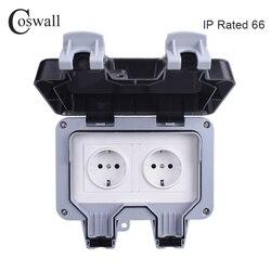Coswall IP66 16A Duplo Padrão DA UE Parede Tomada À Prova D' Água Ao Ar Livre À Prova de Intempéries Tomada Elétrica Aterrada AC 110 ~ 250V