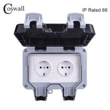 Coswall IP66 全天候防水屋外壁電源ソケット 16A ダブル EU 標準コンセントアースされた Ac 110 〜 250V