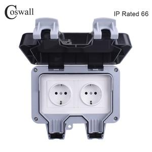 Image 1 - Coswall IP66 עמיד עמיד למים חיצוני קיר כוח שקע 16A כפול האירופי תקן חשמל לשקע הארקה AC 110 ~ 250V
