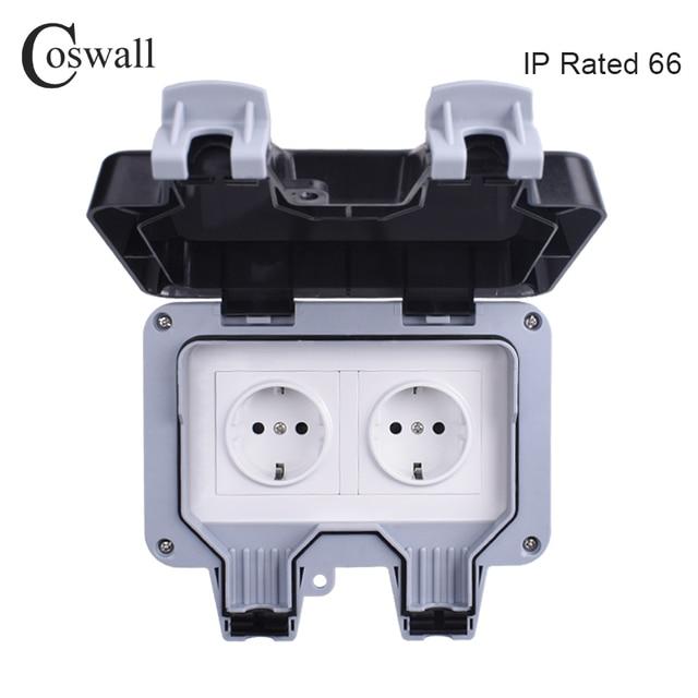 Coswall IP66 עמיד עמיד למים חיצוני קיר כוח שקע 16A כפול האירופי תקן חשמל לשקע הארקה AC 110 ~ 250V