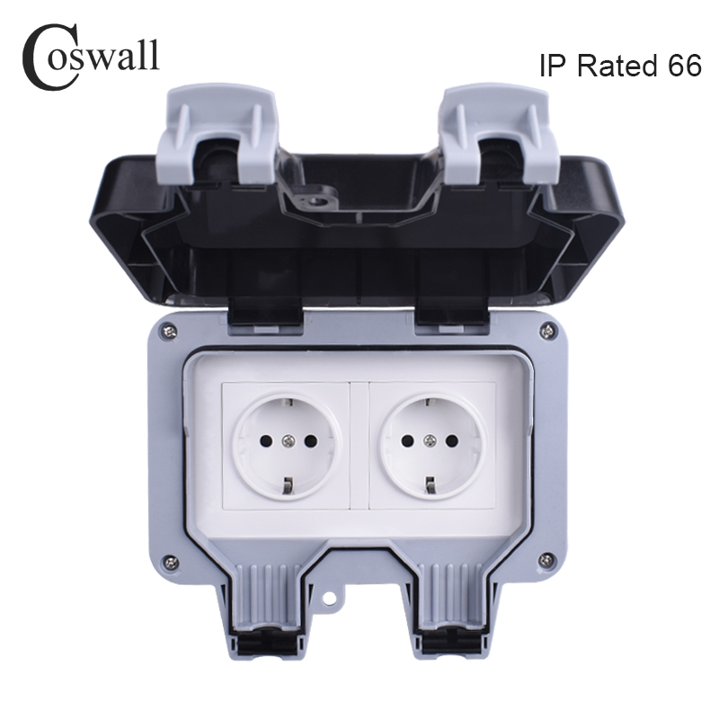 Coswall IP66 Weatherproof Waterproof Outdoor Wall Power Socket 16A Double EU Standard Electrical Outlet Grounded AC 110~250V