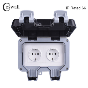 Coswall IP66 Weatherproof Waterproof Outdoor Wall Power Socket 16A Double EU Standard Electrical Outlet Grounded AC 110~250V()