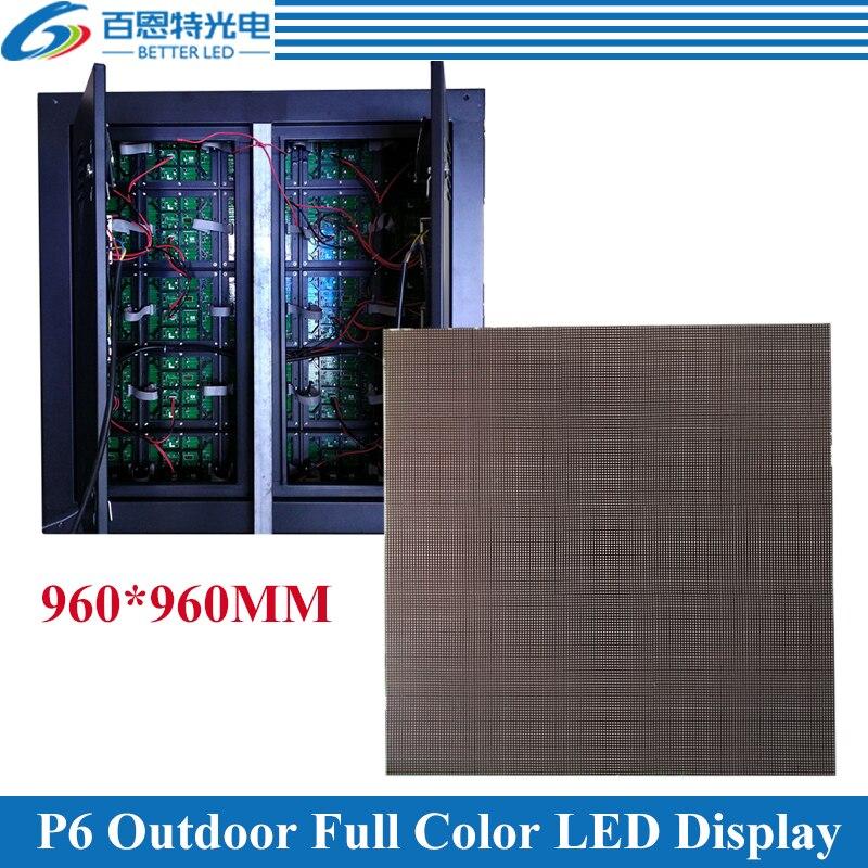 6 pcs/lot P6 extérieur 1/8 scan 960*960mm 160*160 pixels étanche fer armoire polychrome écran de affichage vidéo LED