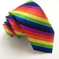 5 cm Única Delgada Tie Moda Gravata Impressa Poliéster Laços com Colorful Rainbow Stripes