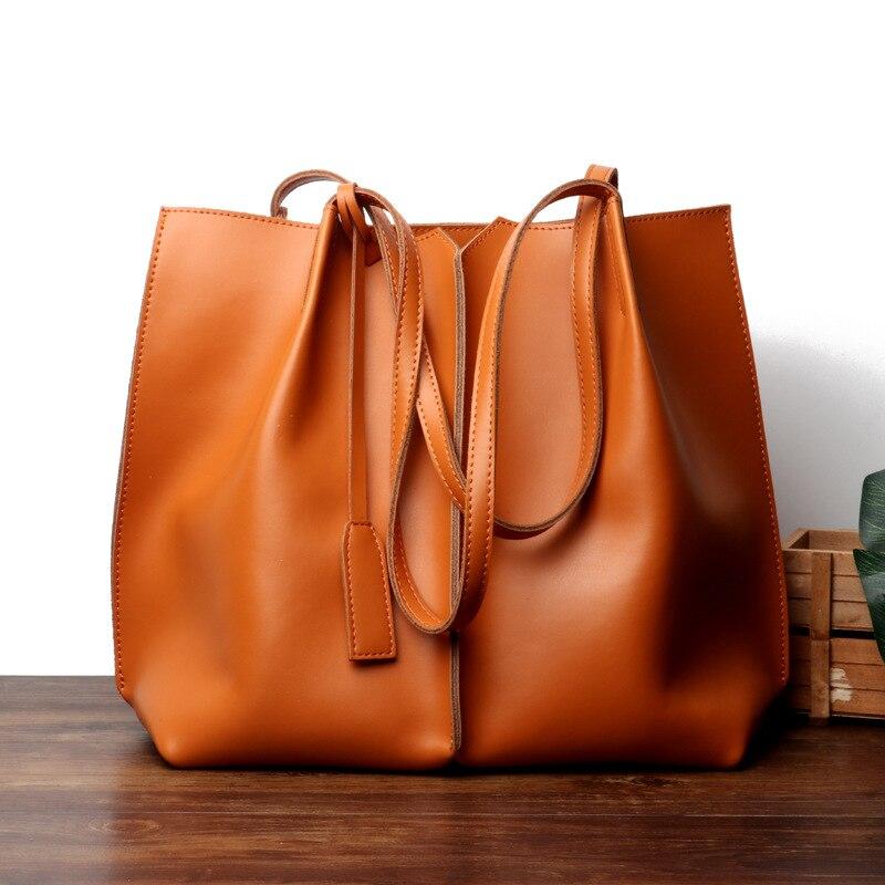 Luxus Design frauen Aus Echtem Leder Casual Tote Tasche Vintage Schulter Handtaschen Damen Braun Große Kapazität Einkaufstasche Bolsos-in Schultertaschen aus Gepäck & Taschen bei  Gruppe 1