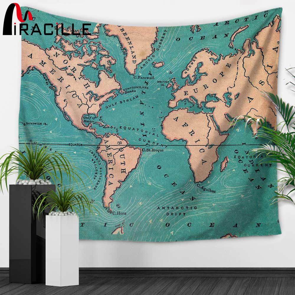 Miracille Weltkarte Indian Tapisserie Hippie Wandbehang Wandteppiche Boho Bettdecke Strand Handtuch Decke Tischdecke