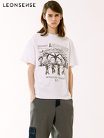 LEONSENSE Original Brand New Cotton Harajuku Aesthetics Tshirt Tree man Print Short Sleeve Tops & Tees Fashion Casual T Shirts