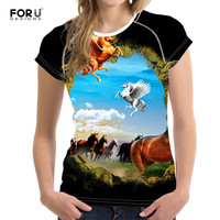 FORUDESIGNS 3D Printed Crazy Horse Funny T Shirts Women 2017 Summer Women T Shirt Short Sleeve