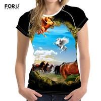 FORUDESIGNS 3D Printed Crazy Horse Funny T Shirts Women 2017 Summer Women T Shirt Short Sleeve