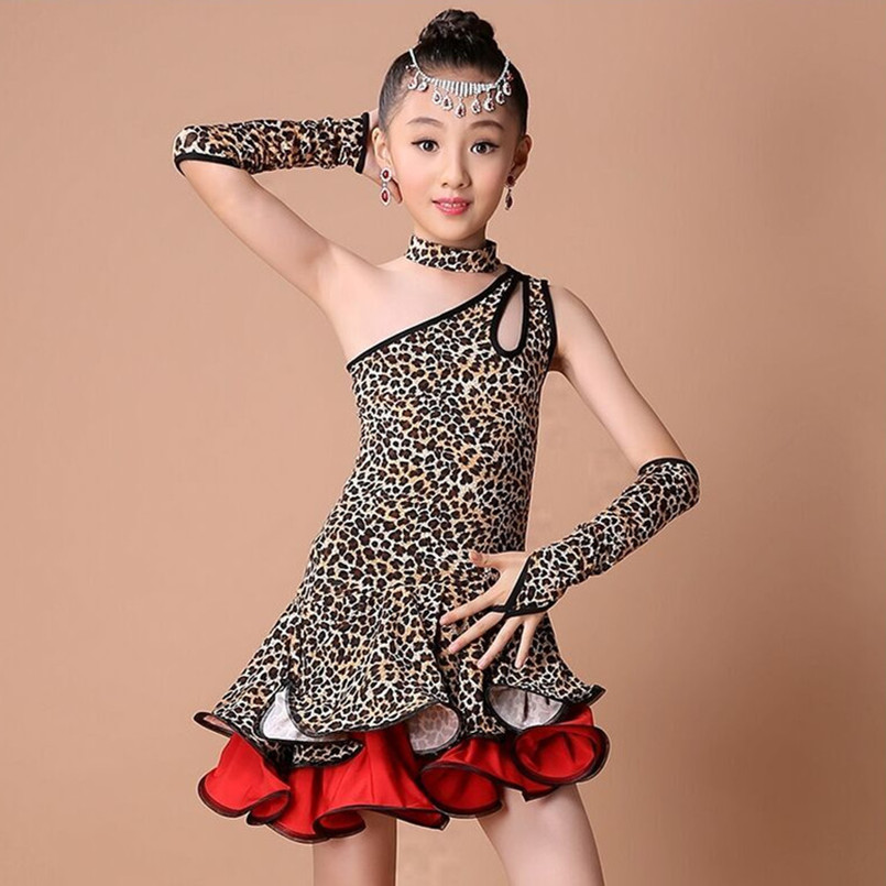 Picture of 2017 Children #39;S Professional Latin Dance Competition Dress Customize Girls Leopard/Zebra  Rumba/Samba/Cha Dance Costumes