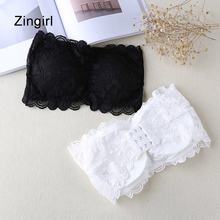 Zingirl Strapless Crochet Print Lace Tube Tops Women Bra Intimates Padded Basic Push Up Brassiere Slim Black Sexy Cropped Tops