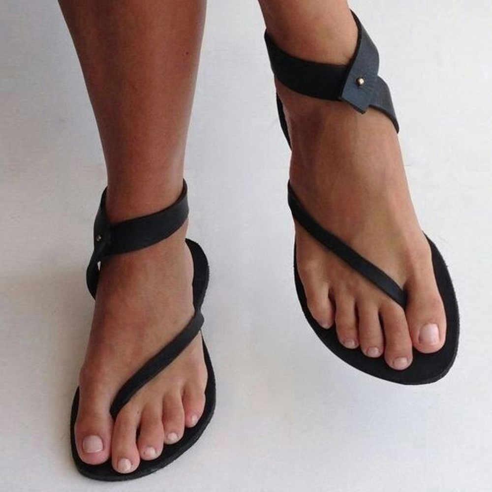 2020 女性ローマスタイルサンダル夏の女性のレトロなストラップフラット足首カジュアルビーチ靴グラディエーターレザーサンダル