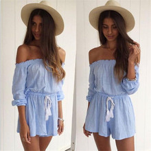 New arrival Sexy Women Casual Loose Long Sleeve Off Shoulder Clubwear Playsuit Party Jumpsuit Romper Short Trousers Blue