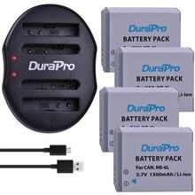 4pc NB-6L NB6L NB 6L NB-6LH 1300mAh Rechargeable Li-Ion Battery + USB Charger For CANON PowerShot SX240 SX260 HS IXY110 SD980