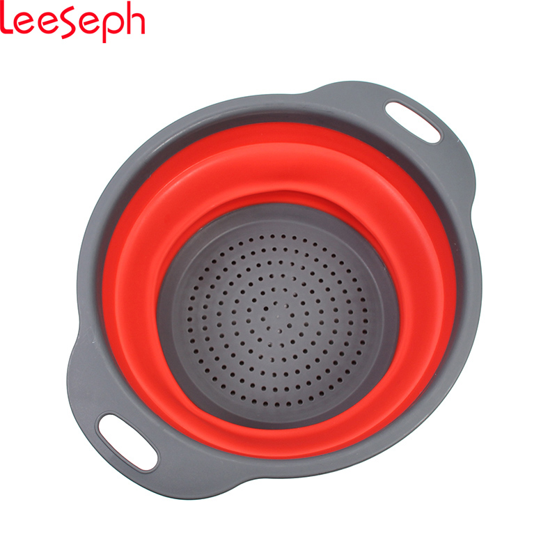 Folding Strainers, Kitchen Collapsible Silicone Colander, Fruit Vegetable Strainer Silicone Drainer, Kitchen Accessories
