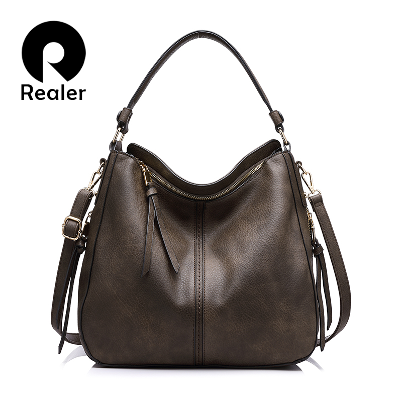 REALER handbag women shoulder crossbody bag female casual large totes high quality artificial leather ladies messenger bucket