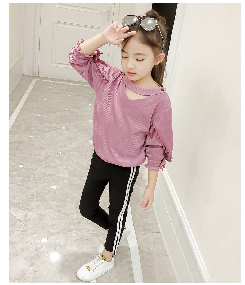 Childrens clothing 2018 spring and autumn new cute ball leisure two-piece jacket long sleeve shirt + pants baby girl clothes