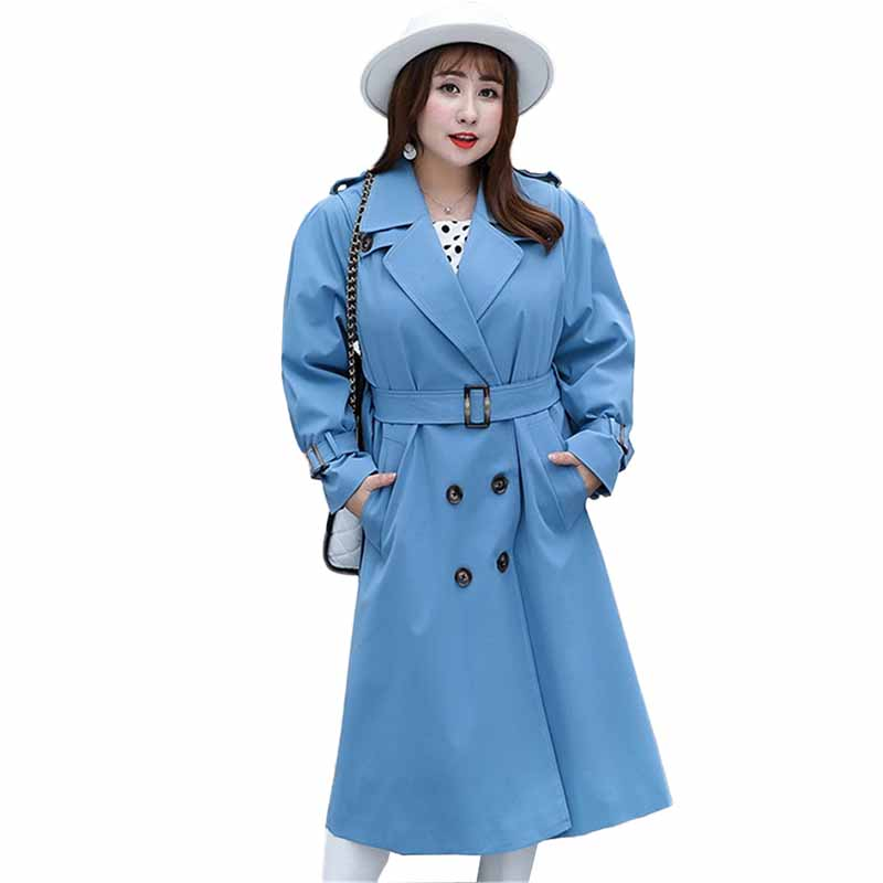2019 Long Windbreaker Plus size XL-4XL   Trench   Coat Women Spring Autumn Casual Tops Female Sashes Double-breasted Outerwear G254