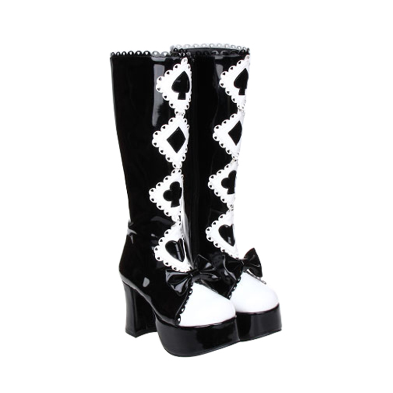 Angelic imprint PU Leather Punk Lolita Black and White Gothic Queen High Heel Platform Lolita Cosplay High Boot size35-46 8370 gothic and lolita