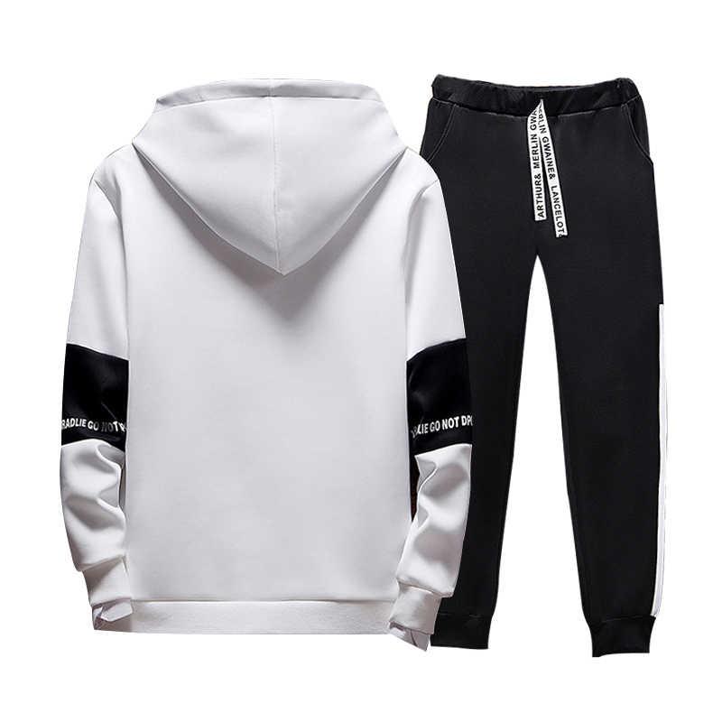 Casual Patchwork Männer Hoodies Mode Brief Gedruckt Mit Kapuze Sweatshirt Hip Hop Streetwear Männlichen Warme Hoodie Trainingsanzüge Herren Gesetzt