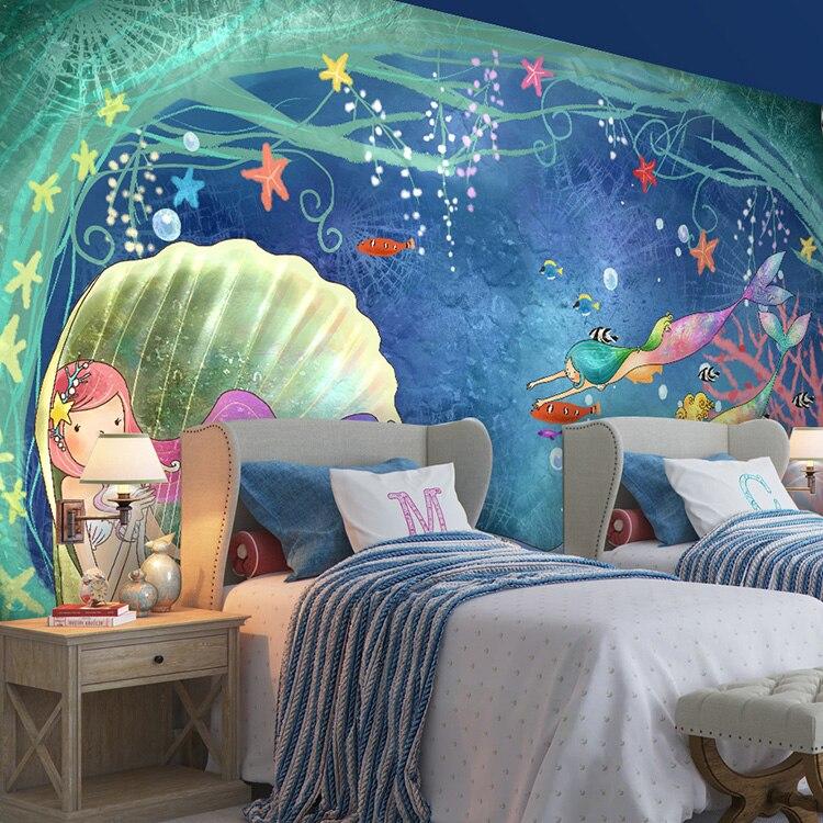 Dream Princess Room girls bedroom wallpaper background personalized custom  3D mermaid mural wallpaper China. Compare Prices on Girls Bedroom Wallpaper  Online Shopping Buy Low