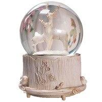 Creative Fairytale Bear Deer Music Box Crystal Ball Music Box Light Automatic Snow Home Decor Birthday Gift Girl Christmas Gifts