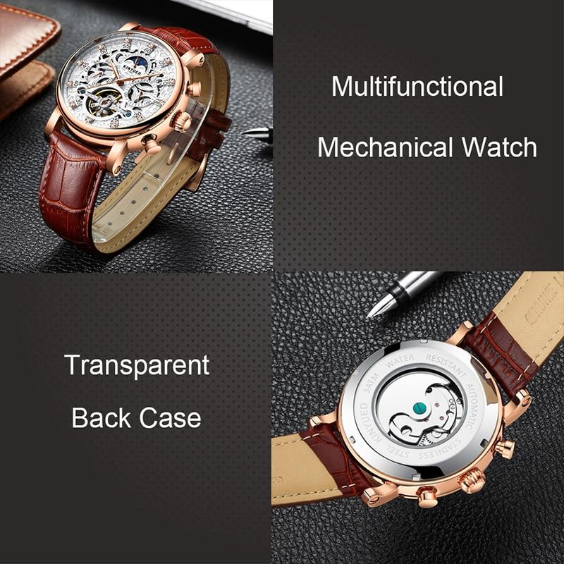 KINYUED esqueleto automático reloj hombres sol Luna fase impermeable hombres Tourbillon relojes mecánicos marca superior relojes de pulsera de lujo - 6