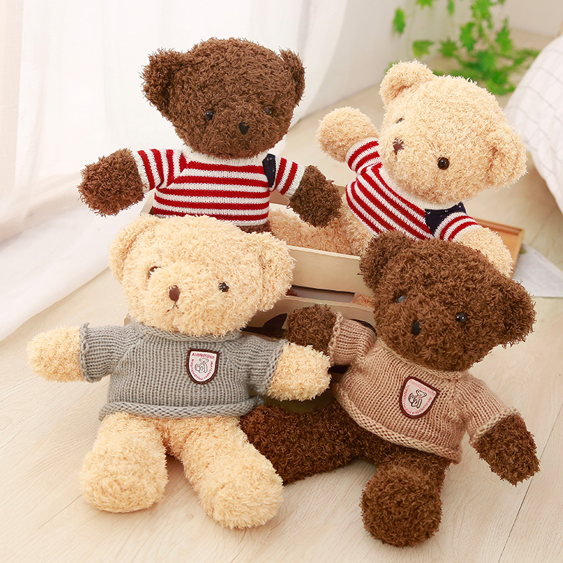 1pc 30CM Lovely Teddy Bear Plush Toys Stuffed Soft Animal Bear with Clothes Kawaii Dolls for Kids Baby Children Valentine Gift