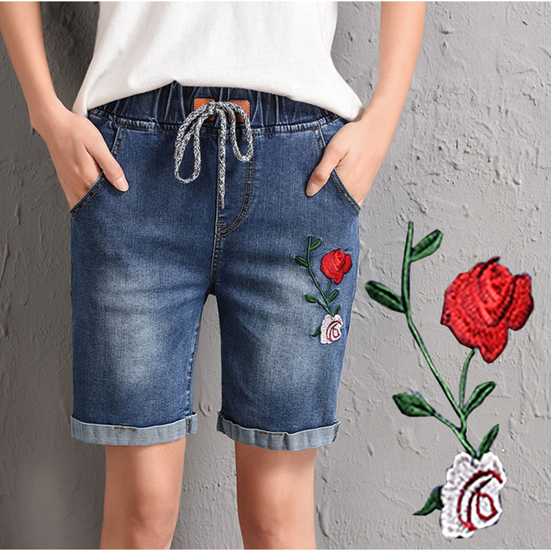 b26edba74d316 Plus Size Floral Embroideried Elastic Waist Bermuda Denim Shorts 3XL 4XL Wide  Leg Frayed Edges Short Jeans Straight Pants -in Jeans from Women s Clothing  on ...