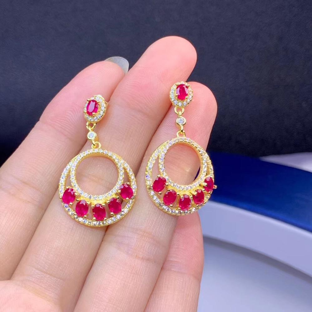 Natural ruby earrings, 925 Sterling silver, luxury European and American style, wholesale price