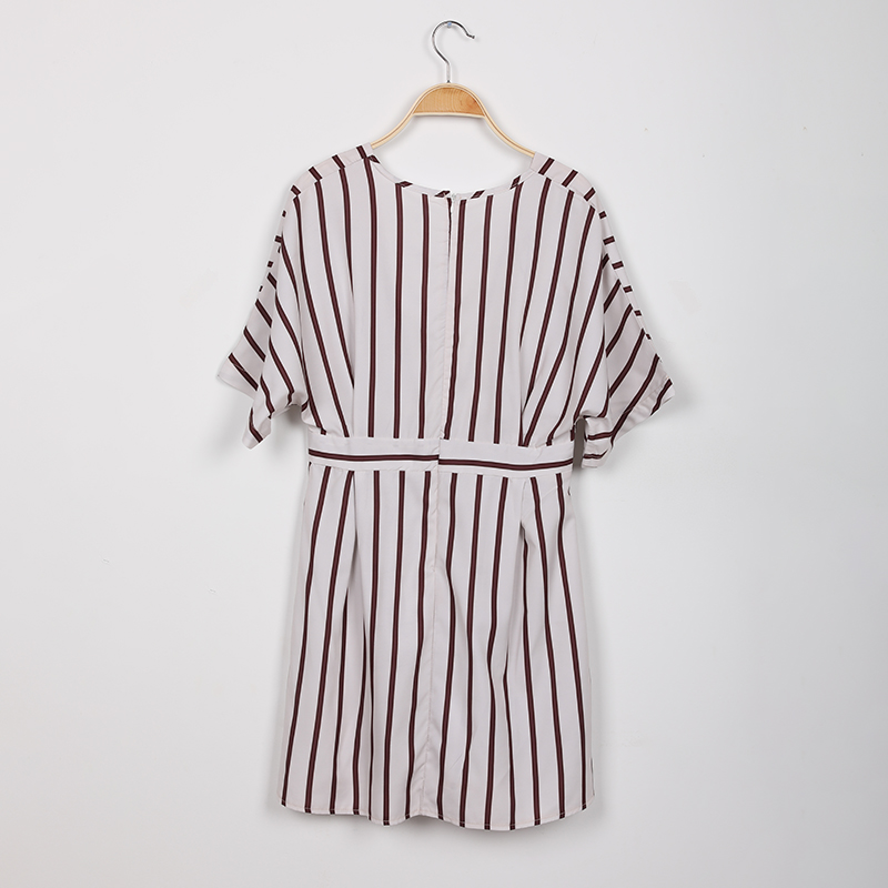 New Fashion 2019 Women Party Dress Night Club Deep V Neck Striped Batwing Sleeve Laides Casual Loose Mini Shirt Dresses 4