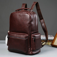 Newest Men S Leather Backpack Schoolbag Fashion Solid Leather Backpack Men Large Capacity Travel Laptop Backpack
