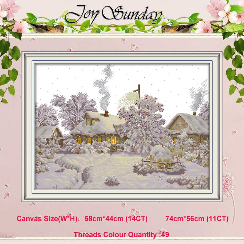 Winter Village Counted 11CT 14CT Scenery Cross Stitch Set DIY DMC Chinese Cross-stitch Kit Embroidery Needlework Home Decor