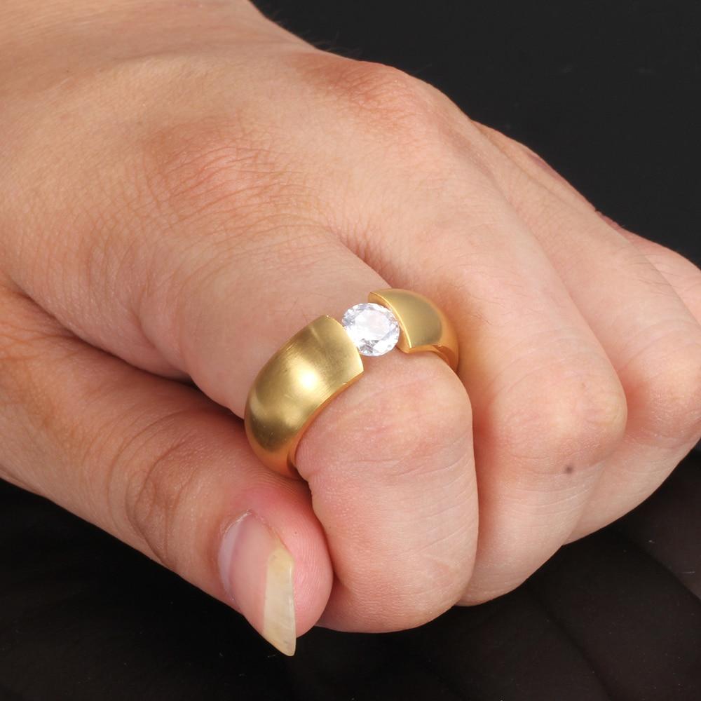 Gold-Color 316L Stainless steel Wedding Rings for Women Men 2