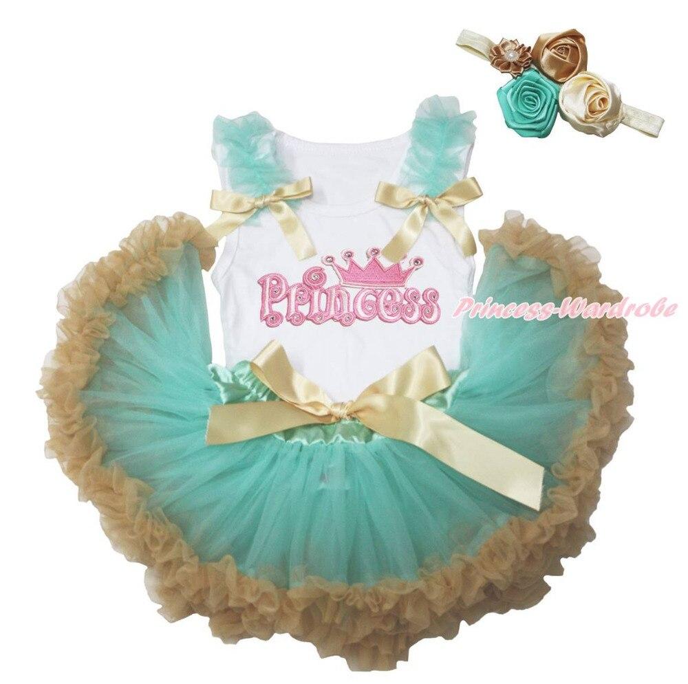 ФОТО Princess White Shirt Top Aqua Blue Goldenrod Girls Baby Skirt Outfit Set 3-12M MAPSA0757