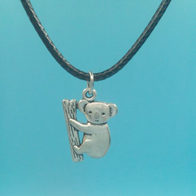Vintage Silver 20x14 mm Koala Bears Pendant Necklace With 45cm Black Leather Chain Christmas Gift Choker Collar Gothic Jewelry