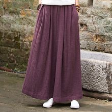 Johnature Wide Leg Pants Elastic Waist Plus Size Women Casual Cotton Linen Loose