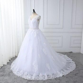 wuzhiyi vestidos de novia High quality wedding dress Lace Appliques sexy backless Ball Gown Beads wedding dress robe de mariee